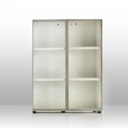 Mobile Medio Ante Vetro 2 piani Alluminio + Top