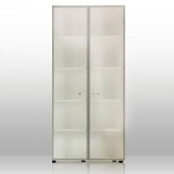 Mobile Alto Ante Vetro 4 piani Alluminio + Top